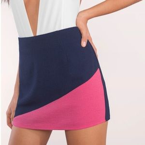 Be Spoiled Color Block Navy & Pink Mini Skirt